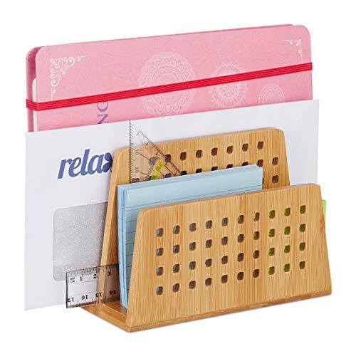 Relaxdays Dokumentenhalter Bambus, 2 perforierte Fächer, praktischer Briefständer, Bürobedarf, Briefhalter DIN A5, natur