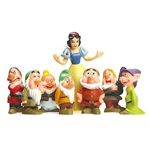 ZGPTX Juego de 8 Piezas Original Princesa Blancanieves y los Siete enanitos 7 Adornos Modelo muñeca Juguetes para niños Figura de Regalo