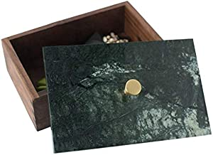 ZQLY Wooden storage box with marble lid can be used for jewelry card gift collection (Color : Green)