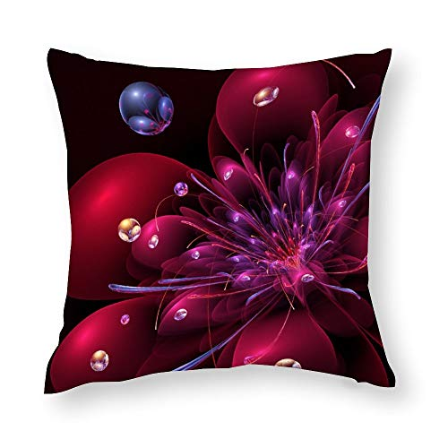 Red Flower 3D Fractal Impression Throw Pillow Covers Case Cushion Pillowcase with Hidden Zipper Closure for Sofa Home Decor 16 x 16 Inches