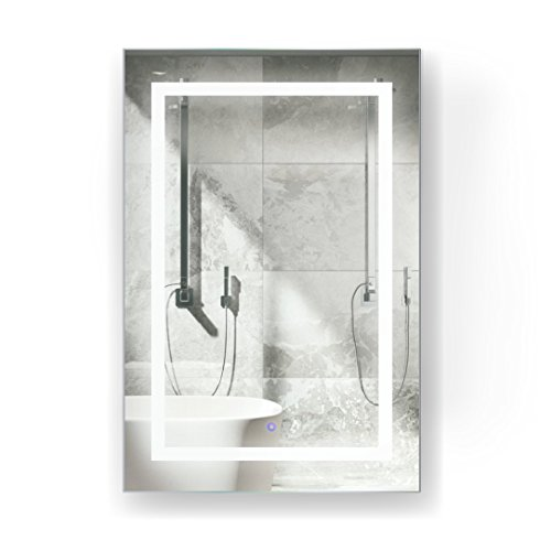 Krugg LED Medicine Cabinet 24 Inch X 36 Inch | Recessed or Surface Mount Mirror Cabinet w/Dimmer & Defogger + 3X Makeup Mirror Inside & Outlet + USB - Left Side