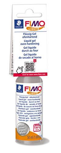 STAEDTLER FIMO Liquid Gel, ofenhärtendes Gel, fließfähige Konsistenz, in Kunststoff-Flasche mit 50 ml, Farbe silber, 8050-81