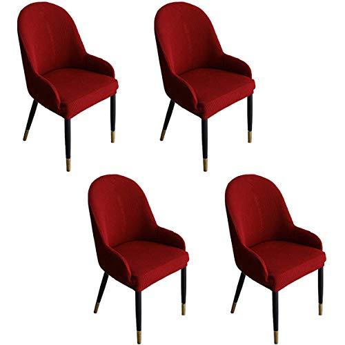 2er 4er 6er Set Universal Stretch Stuhlhussen speziell geformt Wingback Waschbar Dehnbar, Abnehmbar Stuhlbezug für Esszimmerstühle Abwaschbar Schonbezug Hussen (4 Stück, Weinrot)