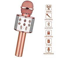 🎤 Microphone de karaoké sans fil élégant --- Ce mini microphone de karaoké fonctionne de manière professionnelle, il est fabriqué en alliage d'aluminium, élégant, durable, utilisant la dernière technologie Bluetooth sans fil, le microphone avec techn...