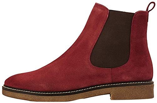 Marca Amazon - find. Leather Gumsole Botas Chelsea, Rojo Wine, 37 EU