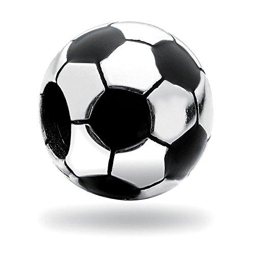 Abalorio de fútbol de plata de ley 925 compatible con abalorios de la marca europea