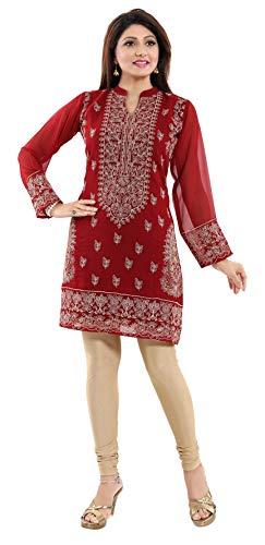 Unifiedclothes Kurta-Shirt für Damen, indisch, ethnisch, mit Stickerei, Georgette, bedruckt, AN04 Gr. 40, rot