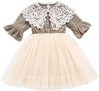 Xifamniy Newborn Girls Spring&Summer Half Sleeve Princess Dress with Lace Collar Shirt Design