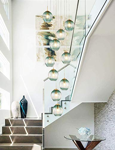 10 Bolas de Cristal Lámpara de Escalera Lámpara Colgante Larga Edificio dúplex Lámpara de araña Grande Sala de Estar Villa Hueco Lámpara de Escalera Minimalista Moderna 40x200cm (c