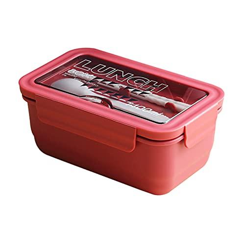 KingbeefLIU - Contenitore per il pranzo con 3 scomparti di grande capacità, per forno a microonde e lavastoviglie, per alimenti, in polipropilene, facile da pulire, colore: rosso biancospino