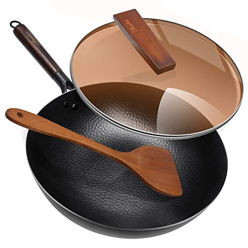 Carbon Steel Wok Pan with Lid & Wood Spatula, Aneder 12.5