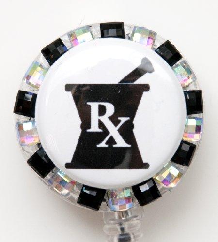 Mortar and Pestle Pharmacist Rhinestone Retractable Badge Reel/ID Badge Holder