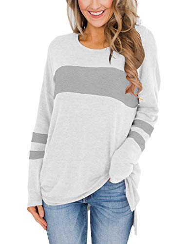 Hilltichu Womens Color Block Long Sleeve Shirt Pullover Round Neck Side Split High Low Tunic Tops