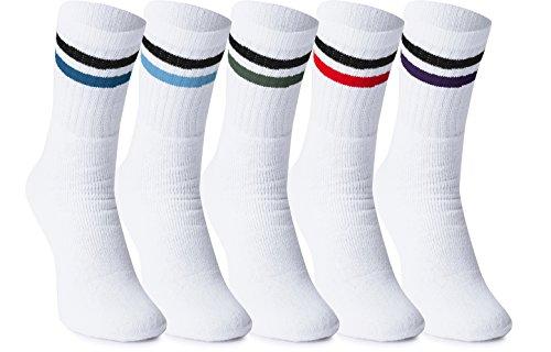 Ladeheid Calcetines para Hombre Lote de 5 10 LAWK17100 (Blanco/Color (Lote de 5), EU 39/42)
