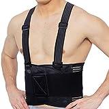 Faja para la espalda con tirantes, apoyo lumbar, cinturón de culturismo/halterofilia - Marca Neotech Care (Negro carbón, Talla XL)