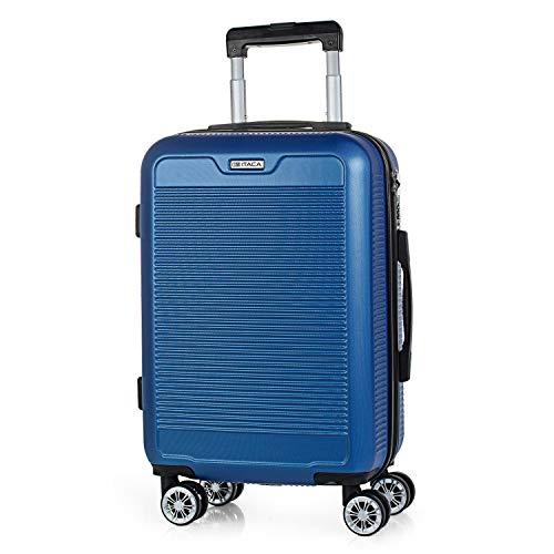 ITACA - Maleta de Viaje Rígida 4 Ruedas Trolley 55 cm abs Texturizado. Equipaje de Mano. Dura y Ligera. Mango Asas Candado. Vuelos Low Cost Ryanair. T72050, Color Azul