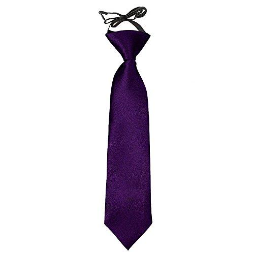 DQT Neu Ebene Satin Elegante Klassische Lila Jungen Hochzeit Vorgebundene Elastisch Krawatte 2-7 Jahre alt