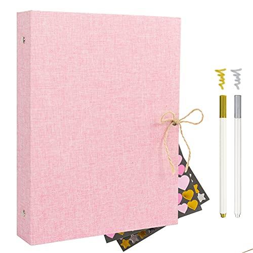 Album Scrapbook,Album de Fotos, Libro de visitas Album de Fotos Boda,con 60 páginas Negras (2pcs*Color Metálico Pluma 2pcs*Metal Pegatina) (rosa)
