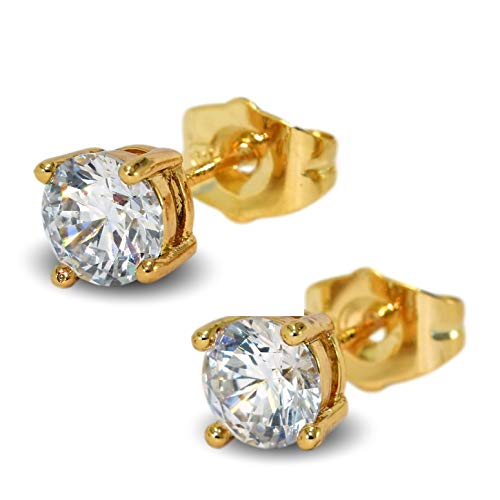 Blue Diamond Club - Gold Filled Womens Mens Stud Earrings Large 6mm Sparkling White Crystals 4 Claws Pair