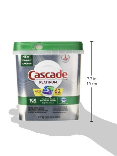 Cascade Platinum ActionPacs Dishwasher Detergent, Fresh, 62 Count per Pack, 34.5 Ounce (Packaging May Vary)