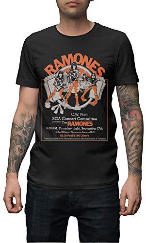 Magik T-Shirt Ramones Camiseta Estampada Unisex Algodon, D10209, XL, Negro