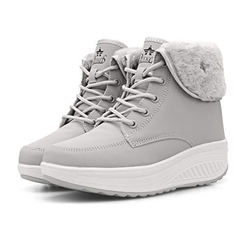 Botas Nieve Mujer de Piel Invierno Antideslizante Plataforma Zapatos Calentar Botines Cordones Casuales Botas 35-42 EU