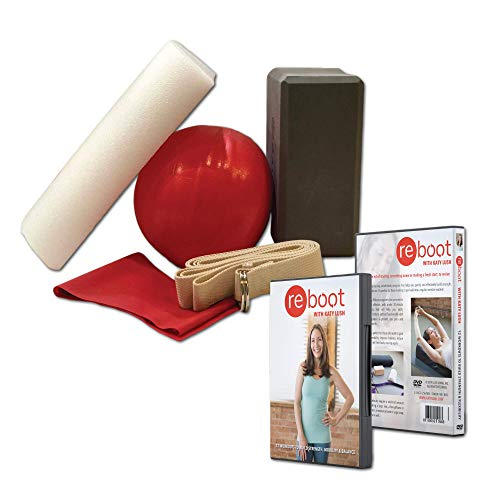 Reboot with Katy Lush - Senior Fitness Weight Loss Workout 2-Disc DVD Set & Starter Kit - Includes Resistence Band, Yoga Brick, Half-Foam Roller, & Ball - 6 Week Beginner Exercise Videos - Strength
