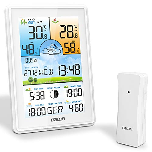 SOSPIRO 2021 Wetterstation Funk mit Außensensor Farbdisplay 3 Senderkanäle Digital Thermometer Hygrometer Innen Außen Raumthermometer Feuchtigkeit mit Wettervorhersage Datum Uhrzeit Temperatur Weiß
