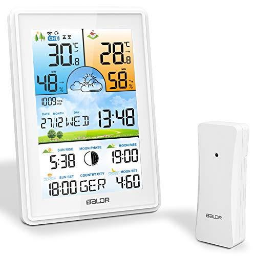 SOSPIRO Wetterstation Funk mit Außensensor,3 Senderkanäle Digital Thermometer Hygrometer Innen Außen Raumthermometer Feuchtigkeit (Weiß)