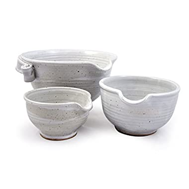 American Made Stoneware Pottery Batter Bowls, 3-Piece Nesting Set, Classic All-White Glaze