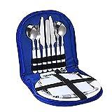 OMKMNOE Camping Cutlery Set 13Pcsic Hoja Aire Libre con Forks Cuchara Botella Placa Abridor Botella Y Ideal para El Viaje Utensilios Al Aire Libre Que Viaja Al Camping 2 Personas,Azul