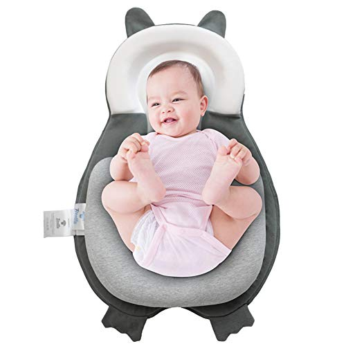 BESTLA Infants Pillow Baby Head Support Newborn Lounger Cute Bear Design Nest with Soft Cotton Fabric Certified Safe for Babies Portable Baby Snuggle Mattress Prevent Flat Head Pillow for 0-3M Infants