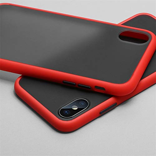 XLSJK Funda para Teléfono Luxury Transparent Matte Color Frame Phone Case For iPhone 6 6S 7 8 Plus X XS 11 Pro MAX XR Hard Pc Protective Back Cover Case iPhone 11 Pro MAX Red