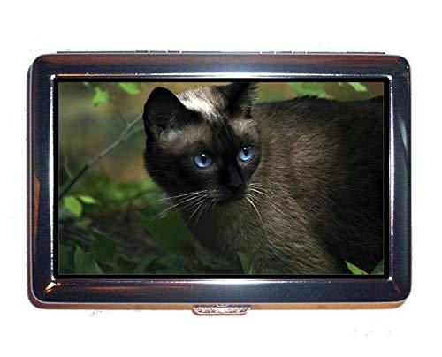 Portasigarette in acciaio inossidabile, scatola con scatola portafogli per gatti Blue Eyes