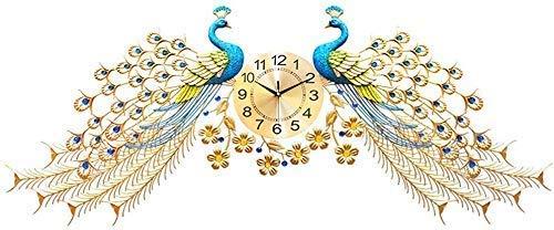 FGDSA Reloj de Pared El Pavo Real, Relojes de Cristal Vida Creativa Decoración del hogar Europeo Silencio Reloj de Pared de Doble Pavo Real Reloj electrónico
