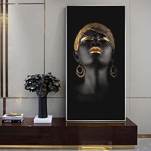 Póster de niña negra con pendientes dorados, impresión artística de pared moderna para sala de estar, decoración del hogar, 30 x 40 cm, sin marco