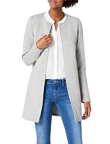 Vila Clothes Damen VINAJA New Long JKT Blazer, Grau (Light Grey Melange), 40 (Herstellergröße: L)