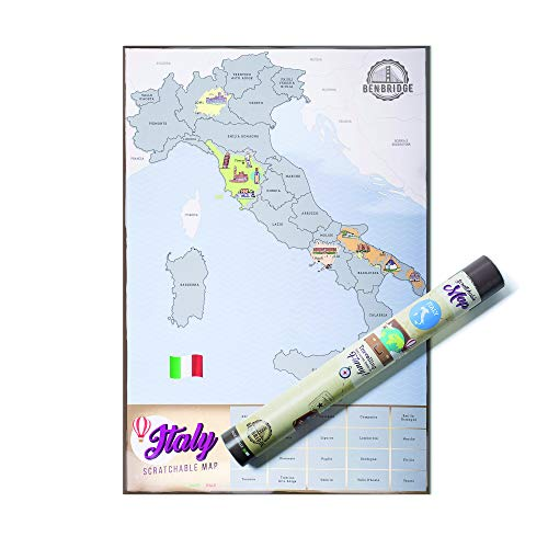 Benbridge, Mappa da Grattare dell'Italia, Cartina Geografica da Parete dell'Italia con Icone, Made in Italy, Idee Regalo per Viaggiatori, Poster da Parete, Dimensioni 41 x 60 cm