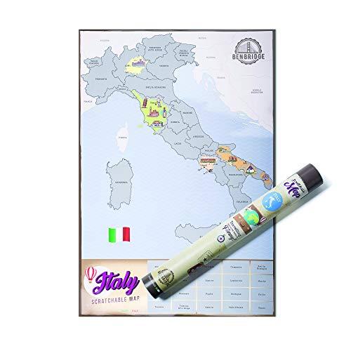 Scratchable Map Benbridge | L'unica Mappa Made in Italy | Mappa dell'Italia da grattare | Viaggia e Gratta Via la Regione che hai Visitato Personalizzando la Tua Mappa