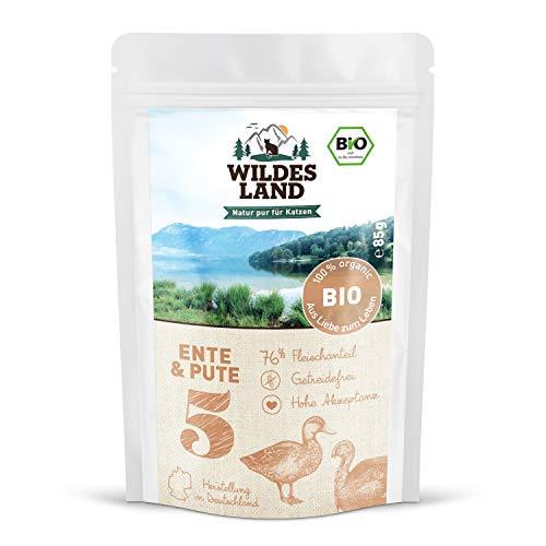 Wildes Land | Nassfutter für Katzen | Nr. 5 Ente & Pute | Bio | 48 x 85 g | Aus kontrolliertem biologischen Anbau | Getreidefrei | Extra viel Fleisch