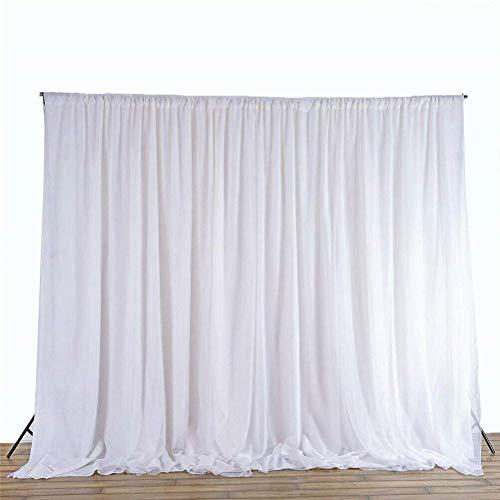 UKMASTER 3 x 6m Seide Hintergrund Vorhang Tüll Fotografie Vorhang für Hochzeit Feier Studio Geburtstag Baby Shower Dekoration Weiß (3 x 6 M)