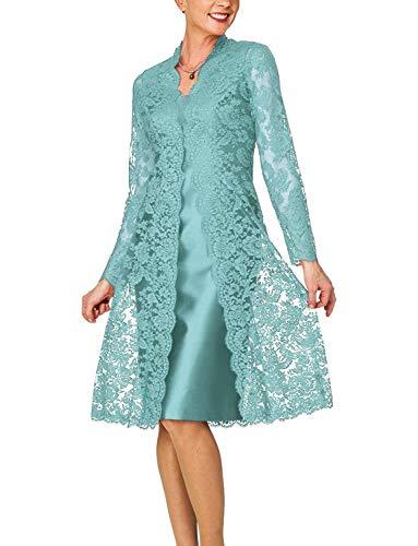 New Deve Women's 2 Pieces Mother of The Bride Dresses with Lace Jacket Tea Length 26 Aqua