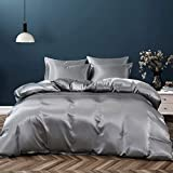 Pothuiny 5 Pieces Satin Duvet Cover Full/Queen Size Set, Luxury Silk Like Grey Duvet Cover Bedding Set with Zipper Closure, 1 Duvet Cover + 4 Pillow Cases