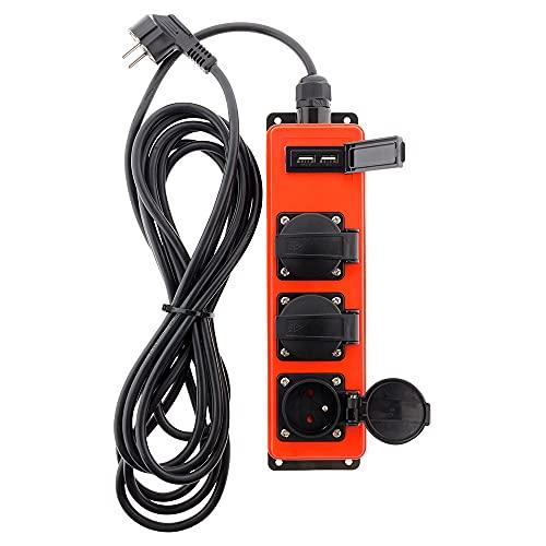 Extensión tuercas 3enchufes 16A 2P + T con 2x USB 2,1A para exterior–Cable ho7rnf 3G1,53m–IP44–negro & rojo
