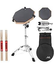 """AKLOT Praktijk Pad Set 12 """"Siliconen Oefening Pads Mat voor Volwassen Kinderen met Snare Drum Stand, Dubbele Zijkant, Drumsticks, Tas"""