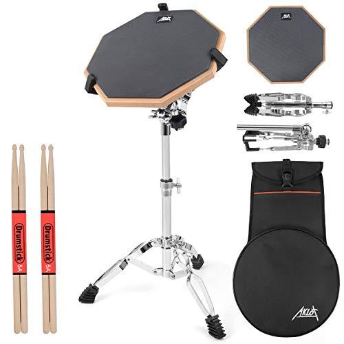 AKLOT Set Pad per Allenamento di batteria Drum pad da 12'in silicone per bambini adulti con supporto per rullante, biadesivo, bacchette, borsa