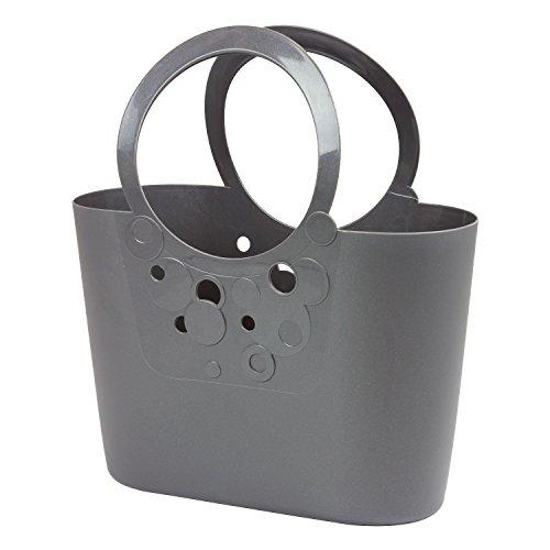 Prosperplast Große XXL Size moderne Handtasche Kunststoff 21 L Picknickkorb graphit rotviolett Griffe Lily Strand-tasche