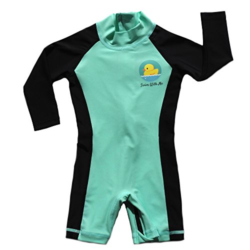 Swim with Me- SPF 50+ Sun Protection Swimsuit for Infant, Baby, Toddler 0-24 Months. (6-12 Months, Teal and Black)