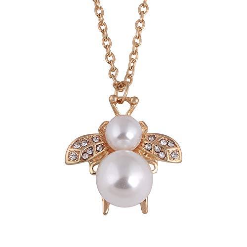 Yowablo Die Neue zarte Honigbiene Anhänger Pearl Diamond Halskette (Gold)