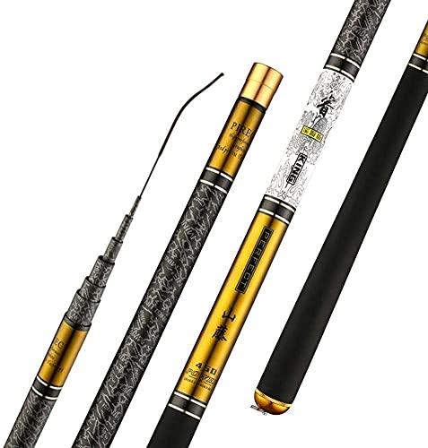 Canna da Pesca Fissa Pesca telescopica in Fibra di Carbonio di Alta qualità Rod Ultra Light Disco Viaggi Carp Fishing Canna da Pesca (Color : Yellow, Size : 9m)